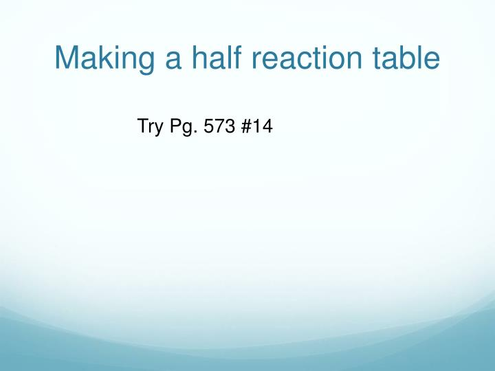 Making a half reaction table