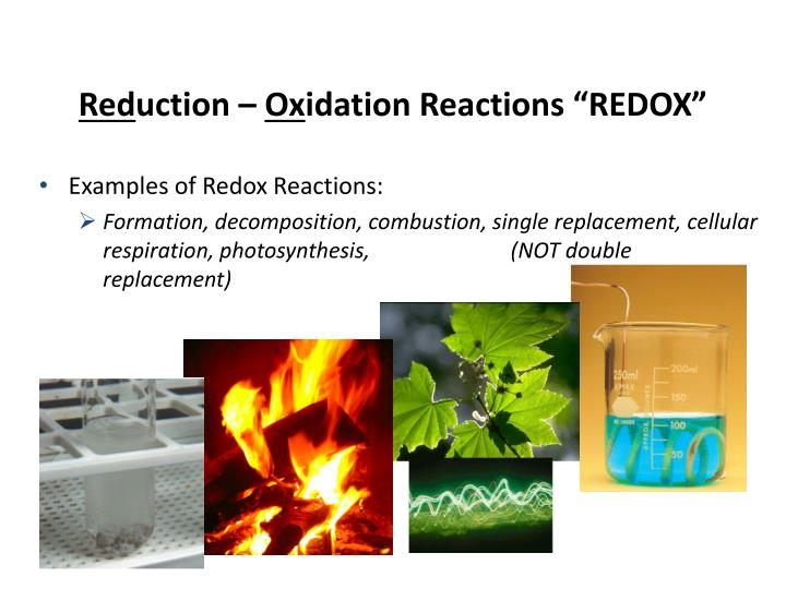Red uction ox idation reactions redox