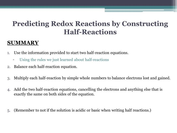 Predicting Redox Reactions by Constructing Half-Reactions