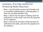 summary five step method for predicting redox reactions