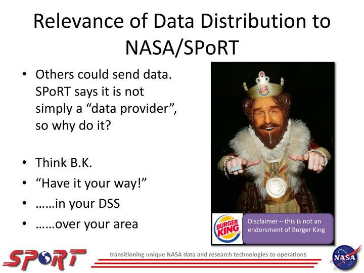 Relevance of data distribution to nasa sport