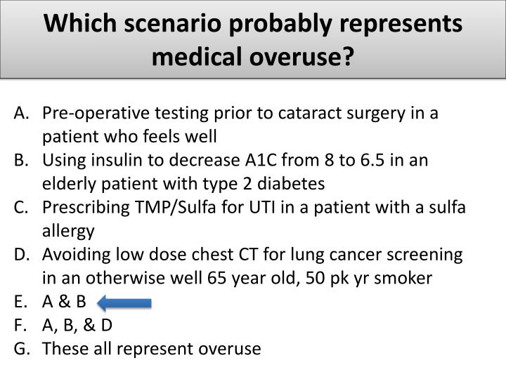 Which scenario probably represents medical overuse