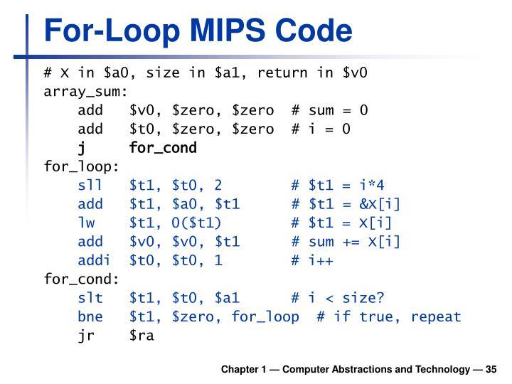 For-Loop MIPS Code