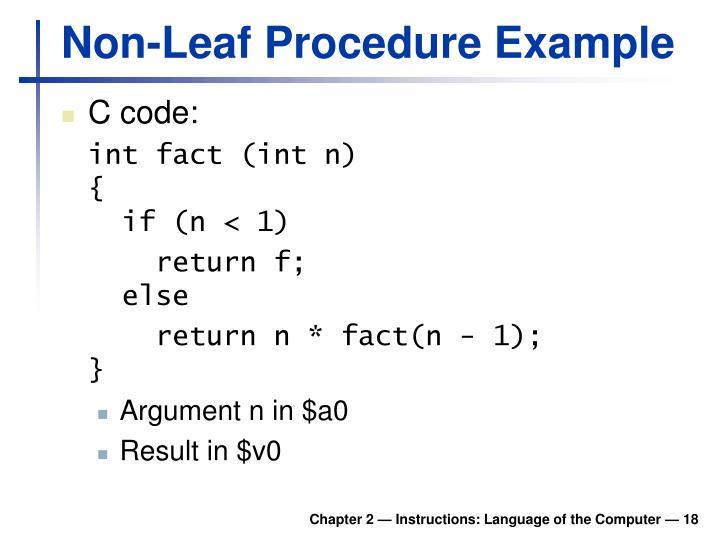 Non-Leaf Procedure Example