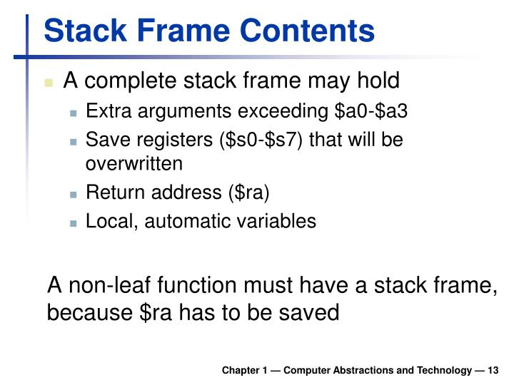 Stack Frame Contents