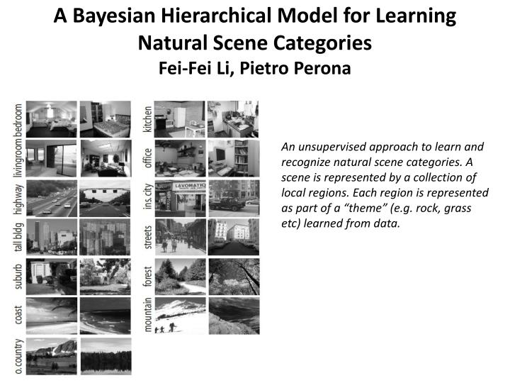 A Bayesian Hierarchical Model for Learning Natural Scene Categories
