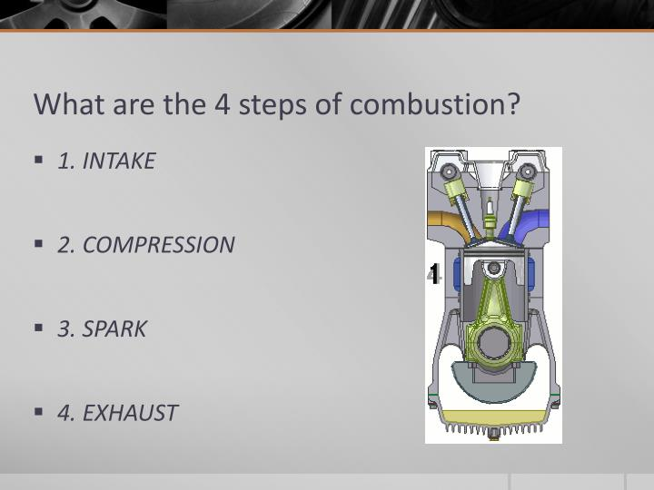 What are the 4 steps of combustion?