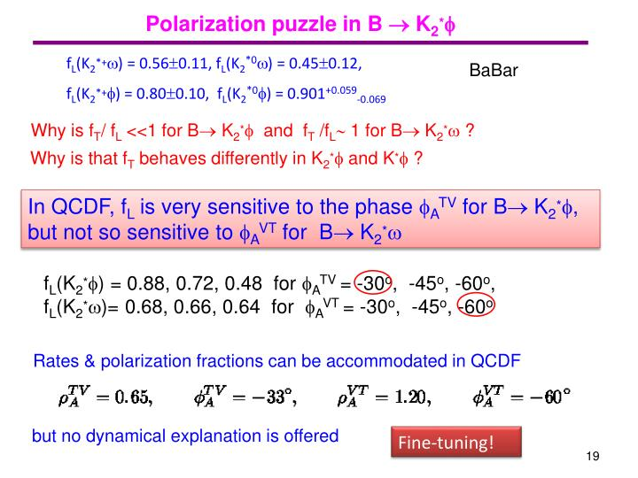 Polarization puzzle in B