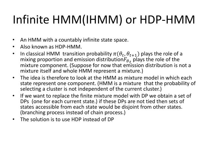 Infinite HMM(IHMM) or HDP-HMM