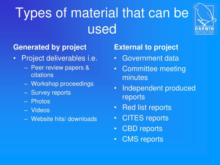 Types of material that can be used