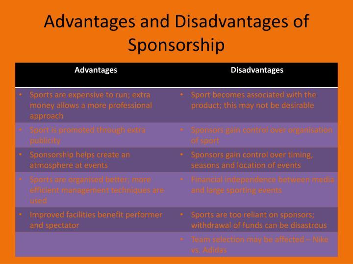 Advantages and Disadvantages of Sponsorship