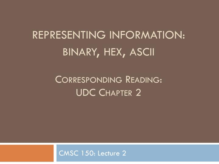 Representing information binary hex ascii corresponding reading udc chapter 2
