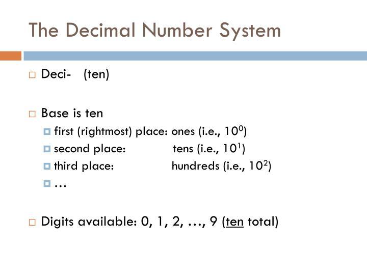 The Decimal Number System