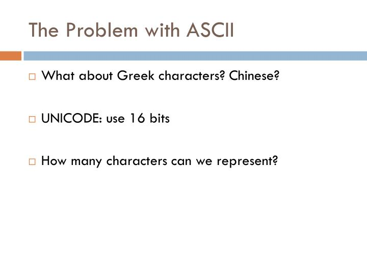 The Problem with ASCII