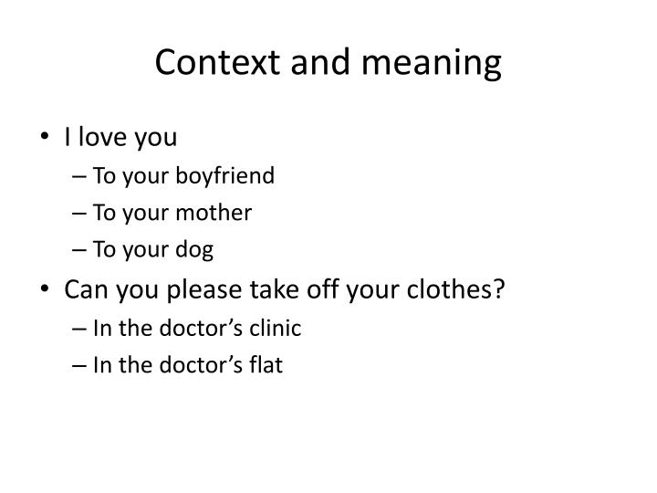 Context and meaning