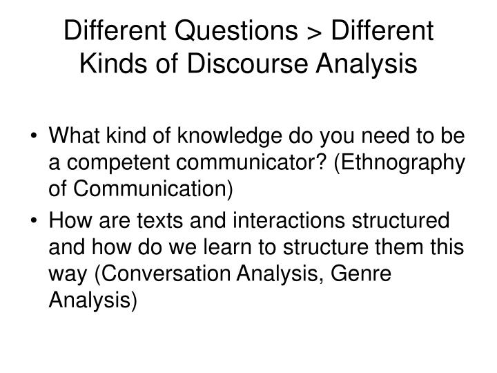 Different Questions > Different Kinds of Discourse Analysis