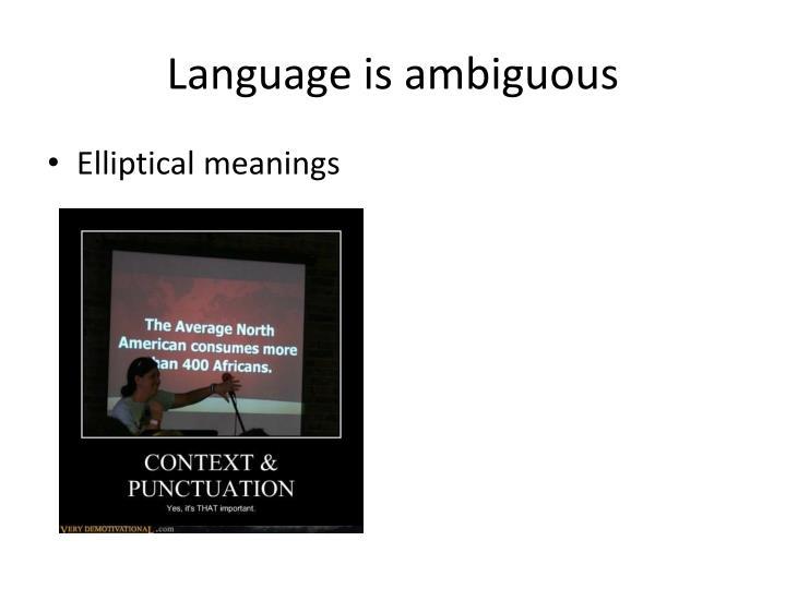 Language is ambiguous