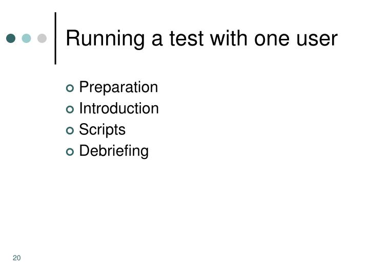 Running a test with one user
