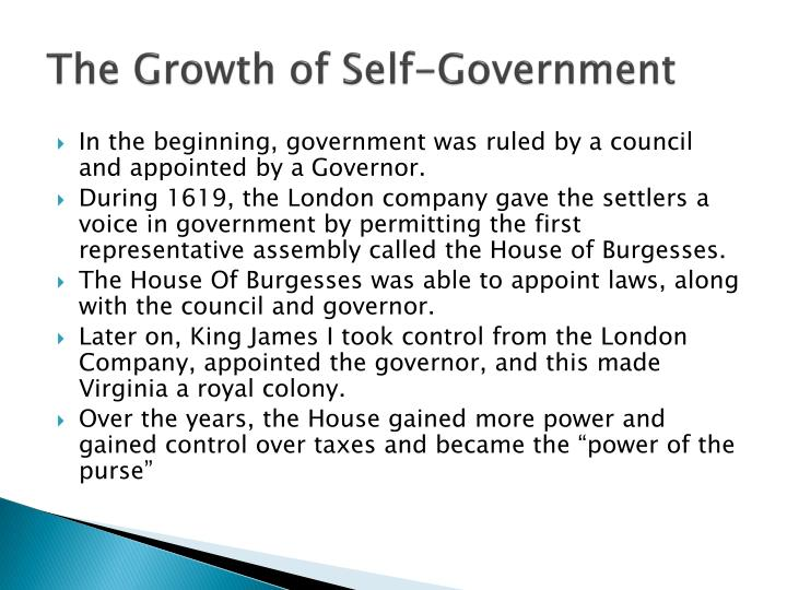 The Growth of Self-Government