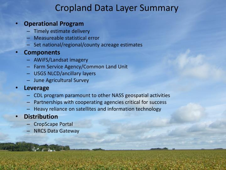 Cropland Data Layer Summary