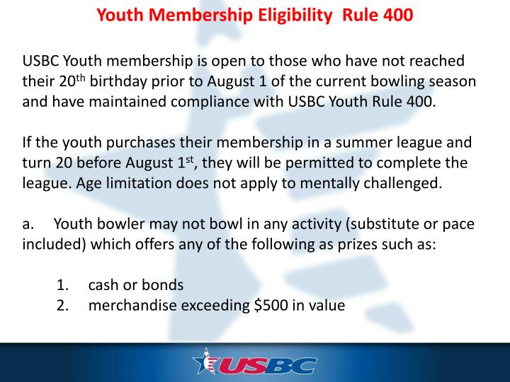 Youth Membership Eligibility  Rule 400