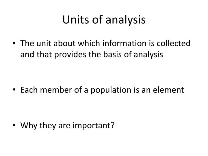 Units of analysis