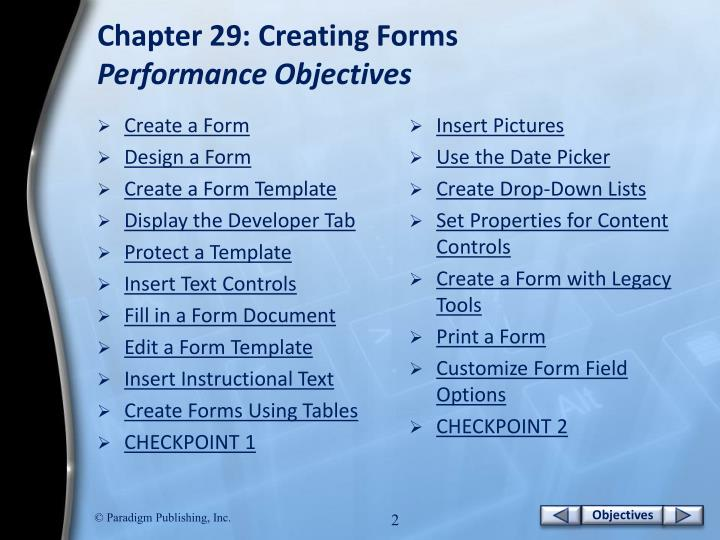 Chapter 29 creating forms performance objectives
