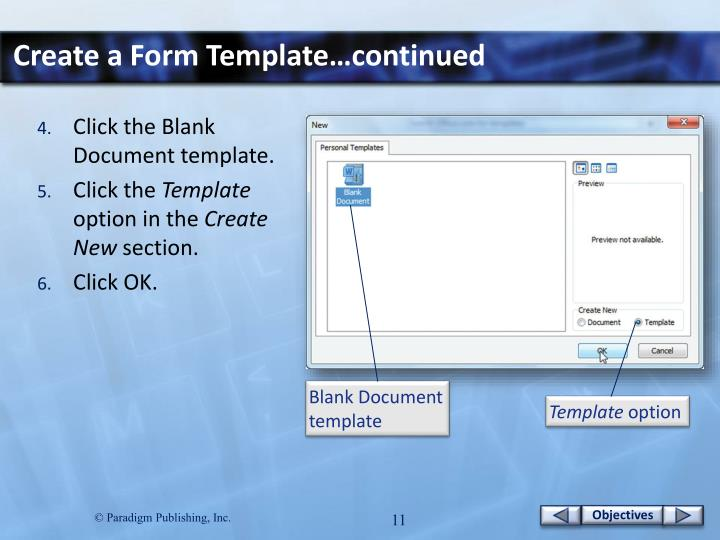 Create a Form Template…continued