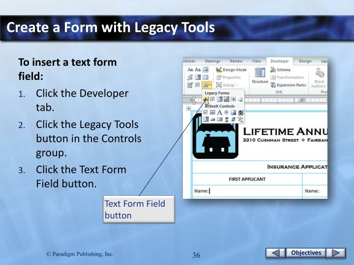 Create a Form with Legacy Tools