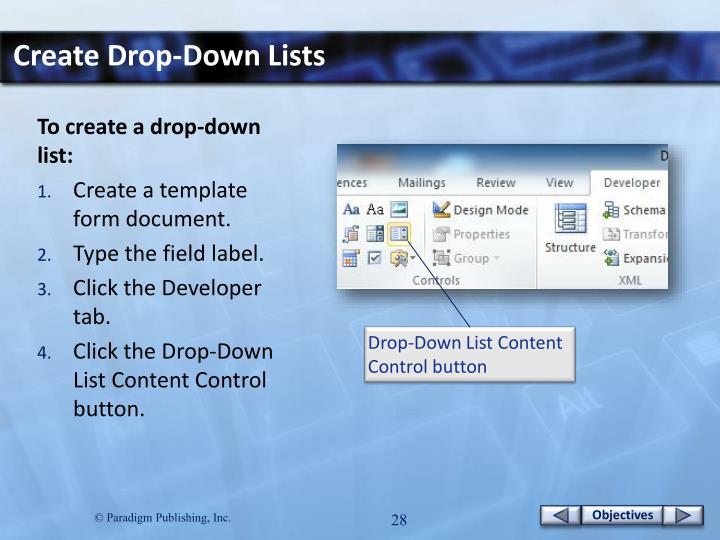 Create Drop-Down Lists