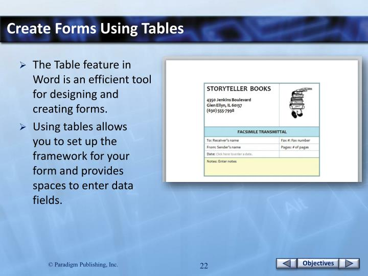 Create Forms Using Tables