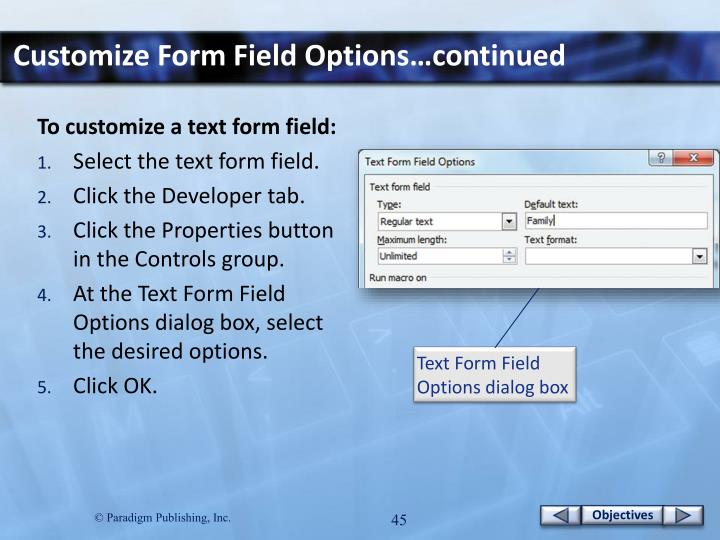 Customize Form Field Options…continued