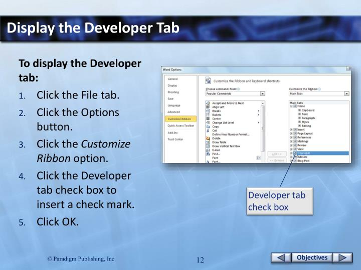 Display the Developer Tab