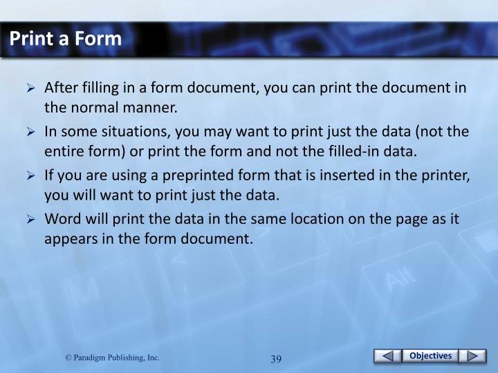 Print a Form