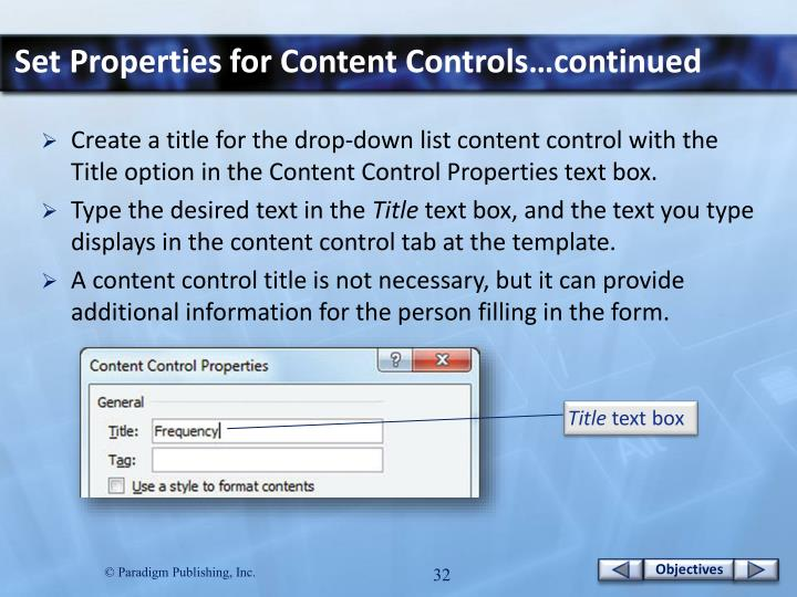 Set Properties for Content