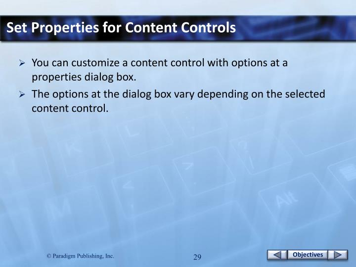 Set Properties for Content Controls