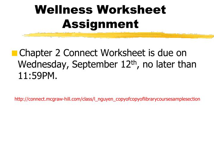 Wellness Worksheet Assignment