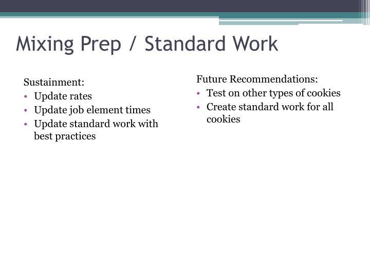 Mixing Prep / Standard Work
