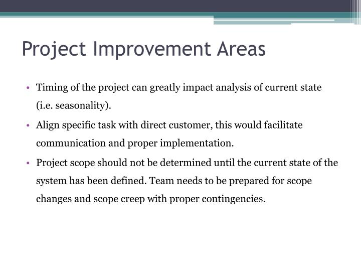 Project Improvement Areas