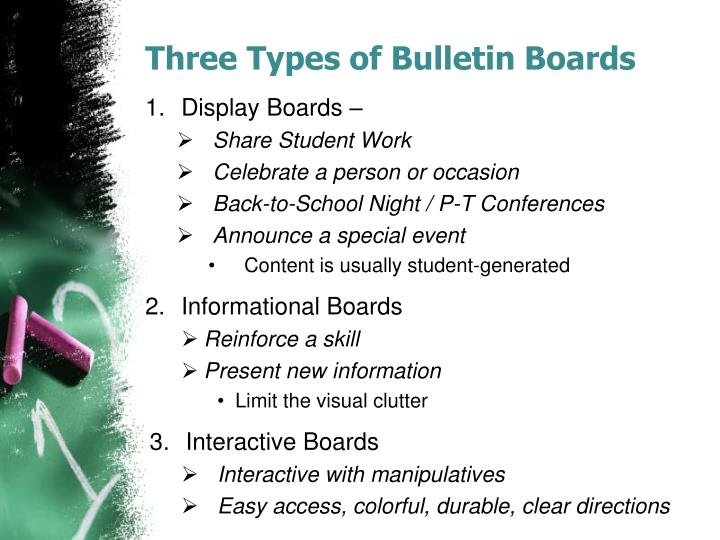 Three Types of Bulletin Boards