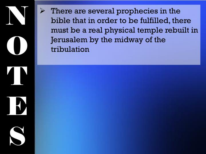 There are several prophecies in the bible that in order to be fulfilled, there must be a real physical temple rebuilt in Jerusalem by the midway of the tribulation