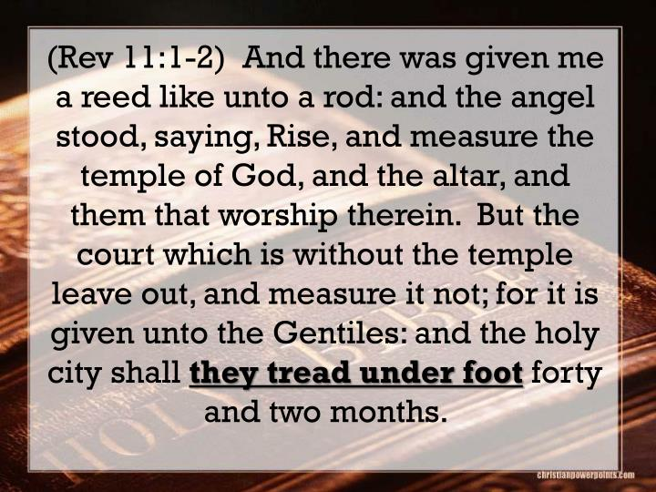 (Rev 11:1-2)  And there was given me a reed like unto a rod: and the angel stood, saying, Rise, and measure the temple of God, and the altar, and them that worship therein.  But the court which is without the temple leave out, and measure it not; for it is given unto the Gentiles: and the holy city shall