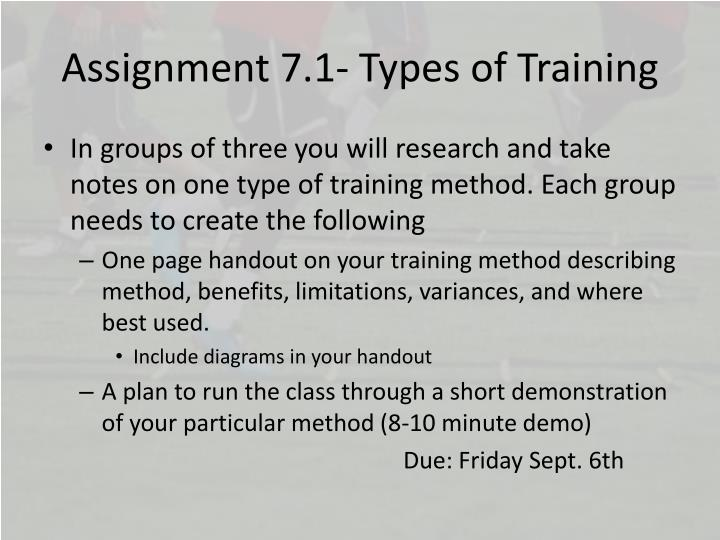 Assignment 7.1- Types of Training