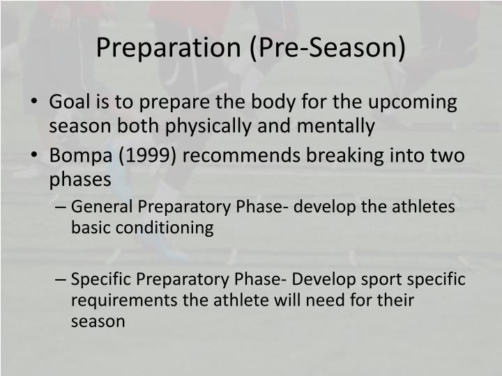Preparation (Pre-Season)