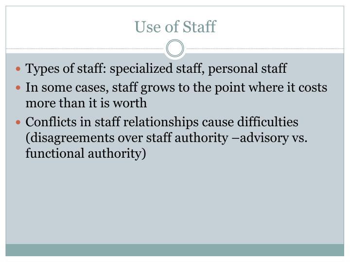 Use of Staff