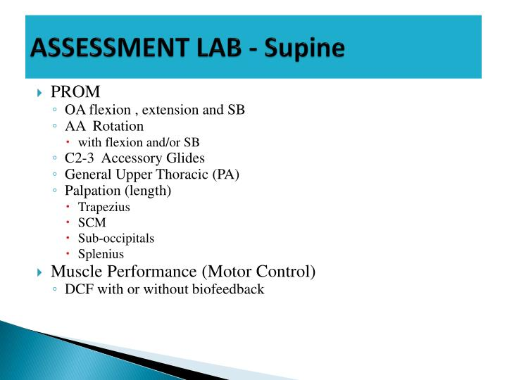 ASSESSMENT LAB - Supine