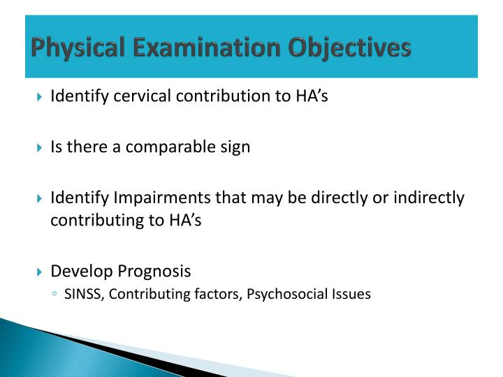 Physical Examination Objectives
