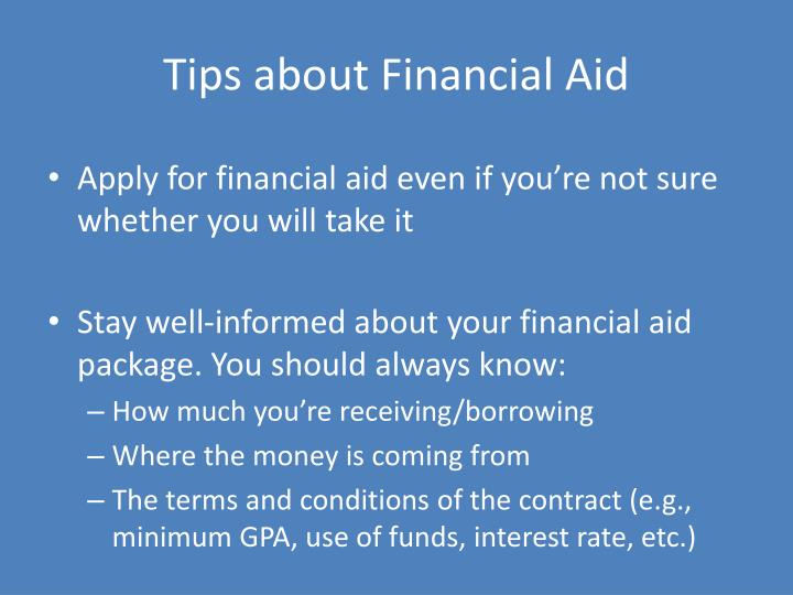 Tips about Financial Aid