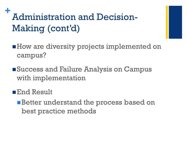 Administration and Decision-Making (cont'd)