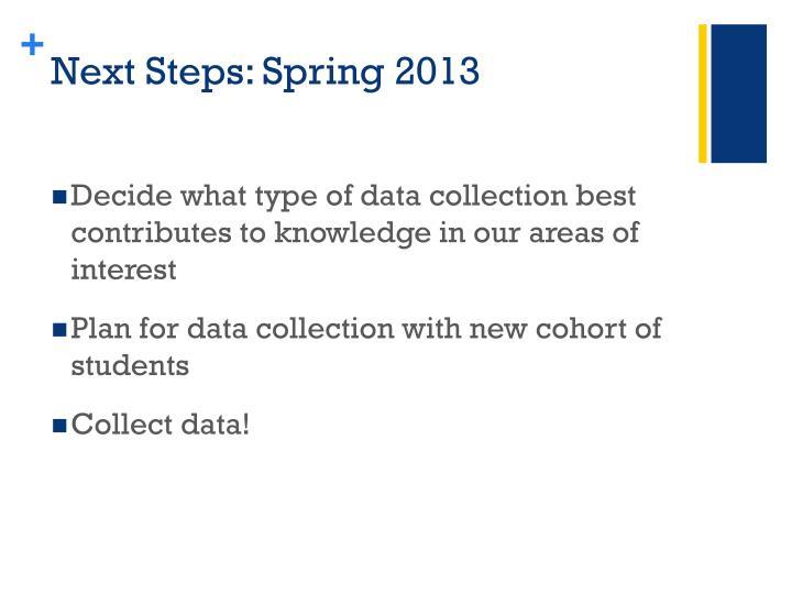 Next Steps: Spring 2013